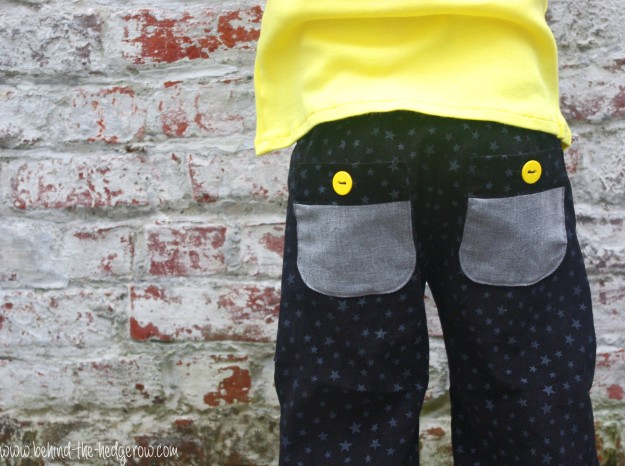Sandbox Trousers and flocking tee - back view