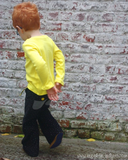 Sandbox Trousers and flocking tee - walking away